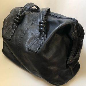 Vintage Liz Claiborne Navy Leather Satchel